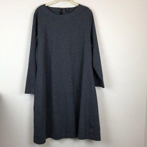 J Crew Gray 2X Long Sleeve Dress 100% Cotton